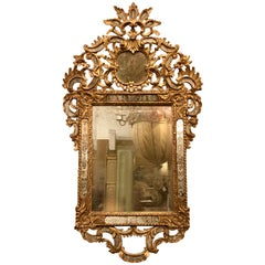 Vintage Rocco Style Gilt and Etched Mirror. Wall, Console or Over the Mantle