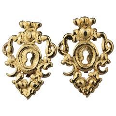 Vintage ROCHAS Paris Baroque Keyhole Earrings