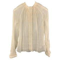 Vintage ROCHAS Size 6 Cream Textured Linen High Collar Long Sleeve Embellished B