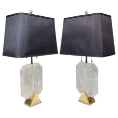 Vintage Rock Crystal and Brass Table Lamps