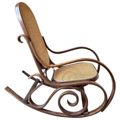 Vintage Rocking Chair, Wood and Vienna Straw Armchair Vimini, Thonet Style, 1940