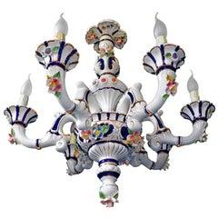 Vintage Rococo Capodimonte Italian Flowers and Blue Porcelain 6-Light Chandelier