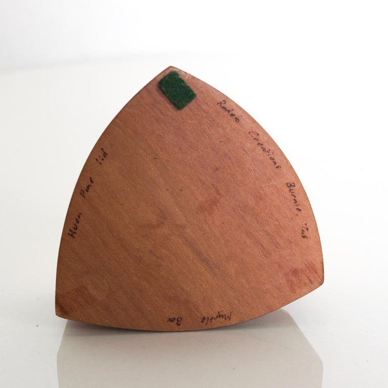 Vintage RODEO CREATIONS 2 Tone Modern Huon Wood Box Jewelry, Keepsake Box For Sale 5