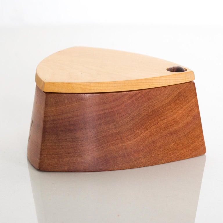 Mid-20th Century Vintage RODEO CREATIONS 2 Tone Modern Huon Wood Box Jewelry, Keepsake Box For Sale