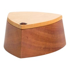 Vintage RODEO CREATIONS 2 Tone Modern Huon Wood Box Jewelry, Keepsake Box
