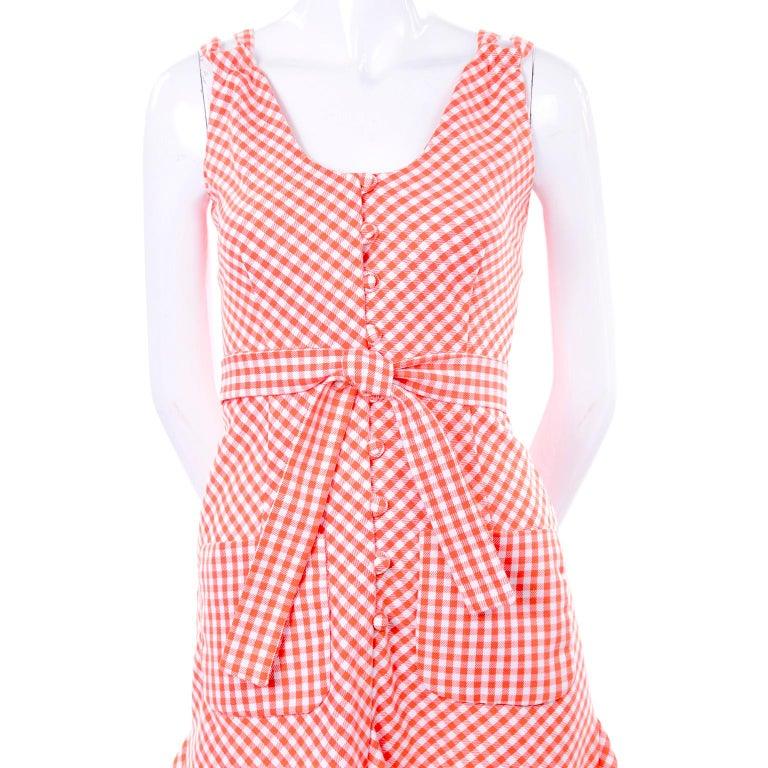 Vintage Rodrigues Orange & White Gingham Summer Dress W/ Pockets & Tie Belt 6/8 For Sale 5