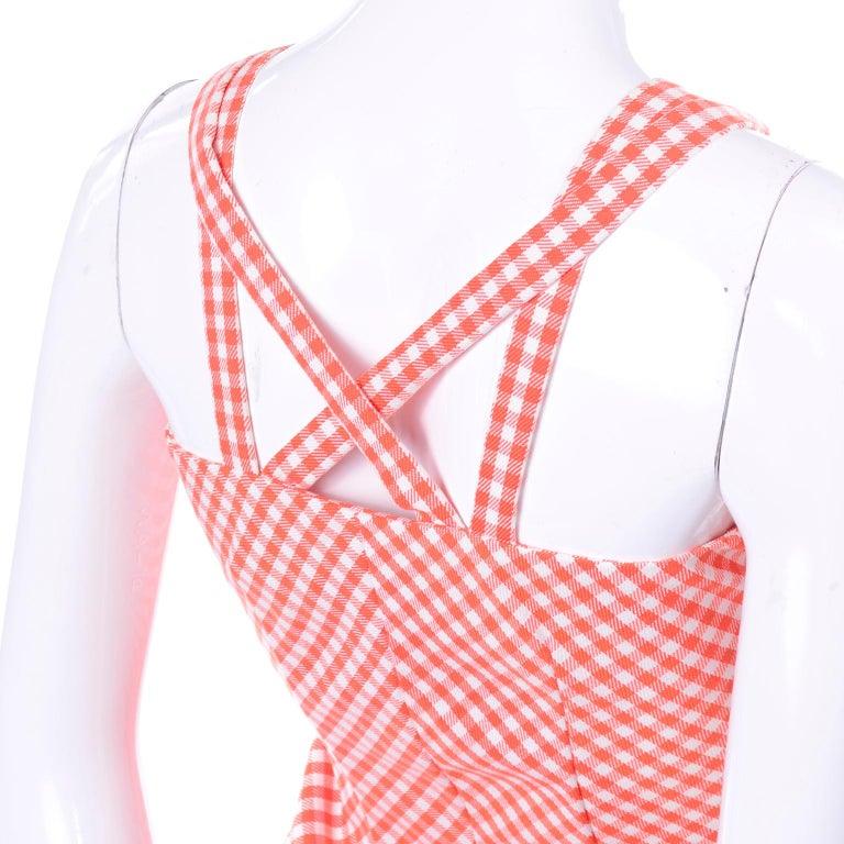 Vintage Rodrigues Orange & White Gingham Summer Dress W/ Pockets & Tie Belt 6/8 For Sale 6