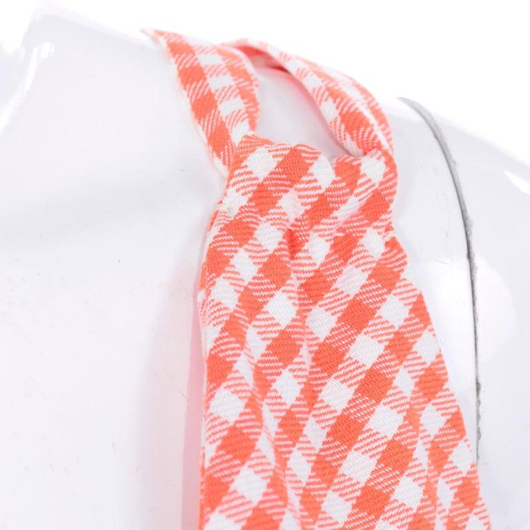 Vintage Rodrigues Orange & White Gingham Summer Dress W/ Pockets & Tie Belt 6/8 For Sale 7