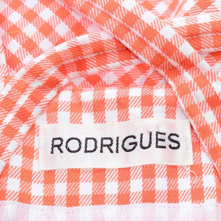 Vintage Rodrigues Orange & White Gingham Summer Dress W/ Pockets & Tie Belt 6/8 For Sale 8