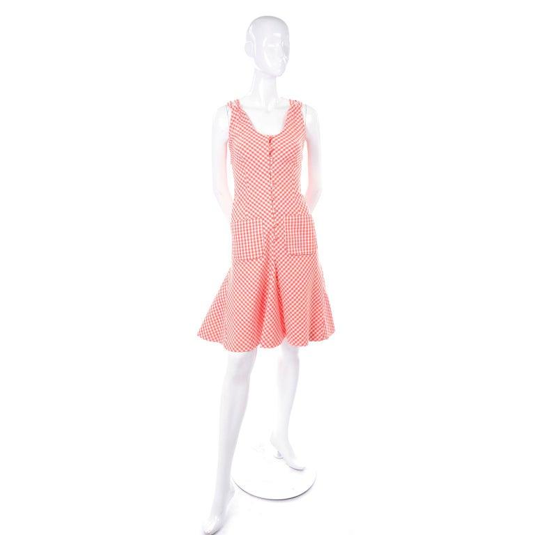 Pink Vintage Rodrigues Orange & White Gingham Summer Dress W/ Pockets & Tie Belt 6/8 For Sale