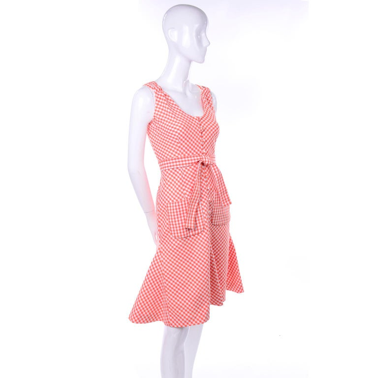 Vintage Rodrigues Orange & White Gingham Summer Dress W/ Pockets & Tie Belt 6/8 In Excellent Condition For Sale In Portland, OR