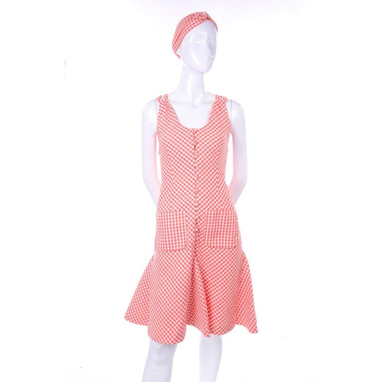 Women's Vintage Rodrigues Orange & White Gingham Summer Dress W/ Pockets & Tie Belt 6/8 For Sale
