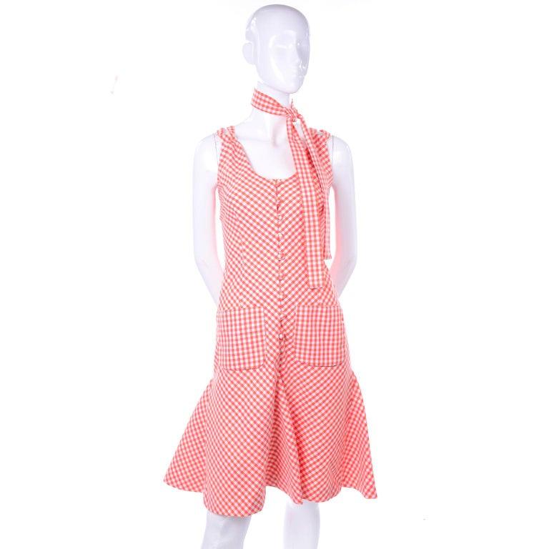 Vintage Rodrigues Orange & White Gingham Summer Dress W/ Pockets & Tie Belt 6/8 For Sale 1
