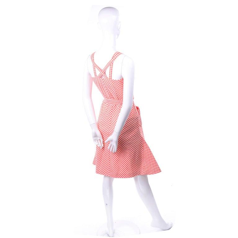Vintage Rodrigues Orange & White Gingham Summer Dress W/ Pockets & Tie Belt 6/8 For Sale 2