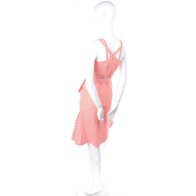 Vintage Rodrigues Orange & White Gingham Summer Dress W/ Pockets & Tie Belt 6/8 For Sale 3