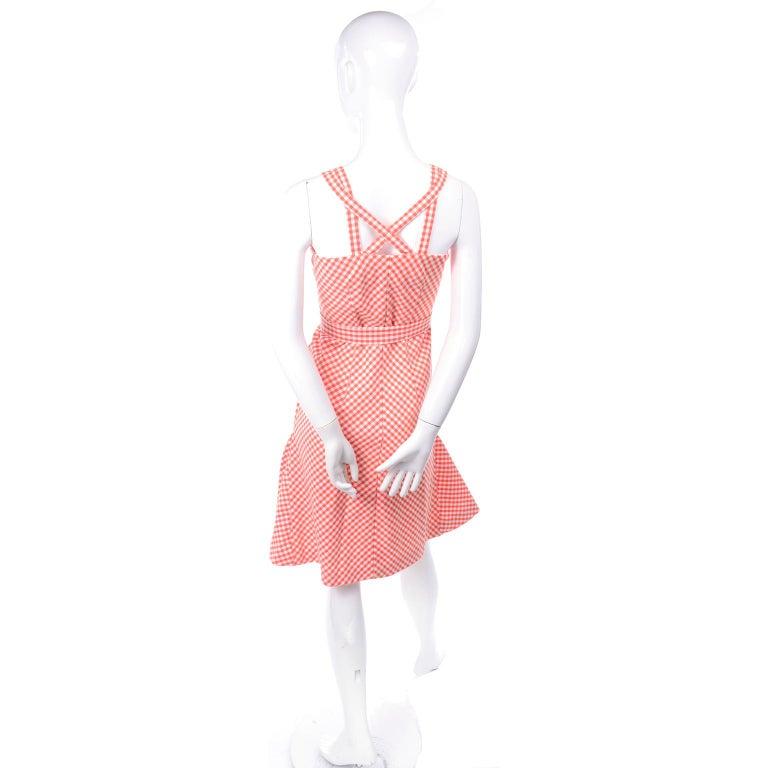 Vintage Rodrigues Orange & White Gingham Summer Dress W/ Pockets & Tie Belt 6/8 For Sale 4