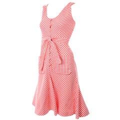 Vintage Rodrigues Orange & White Gingham Summer Dress W/ Pockets & Tie Belt 6/8