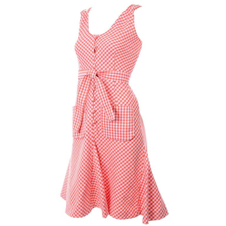 Vintage Rodrigues Orange & White Gingham Summer Dress W/ Pockets & Tie Belt 6/8 For Sale