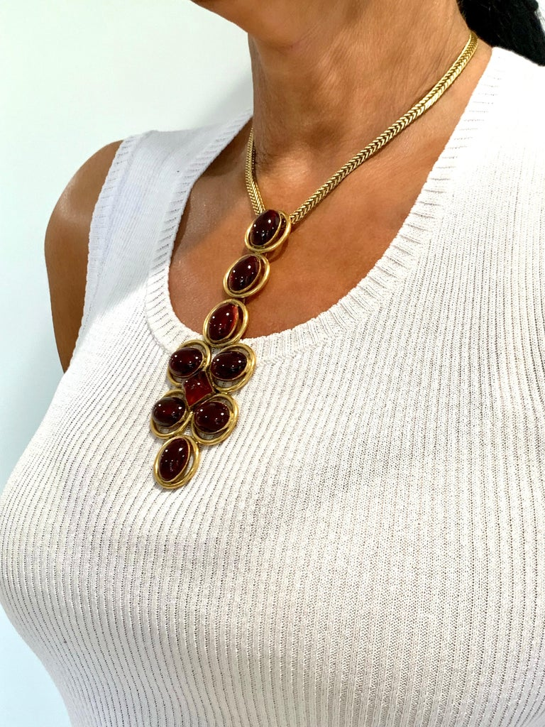 Contemporary Vintage Roger Scemama 1970s Architectural Red Pendant Necklace  For Sale