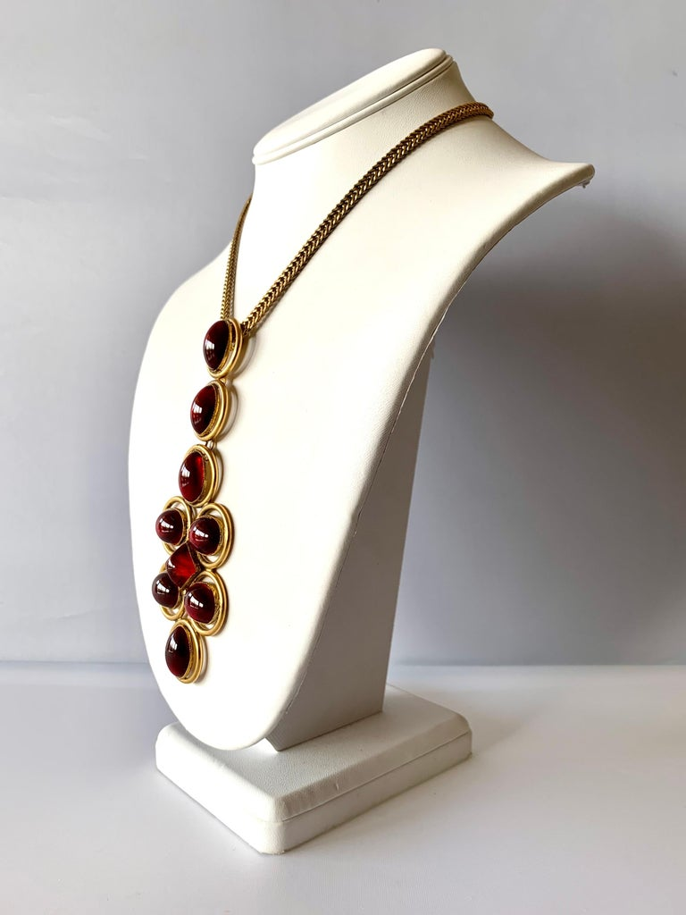 Women's Vintage Roger Scemama 1970s Architectural Red Pendant Necklace  For Sale