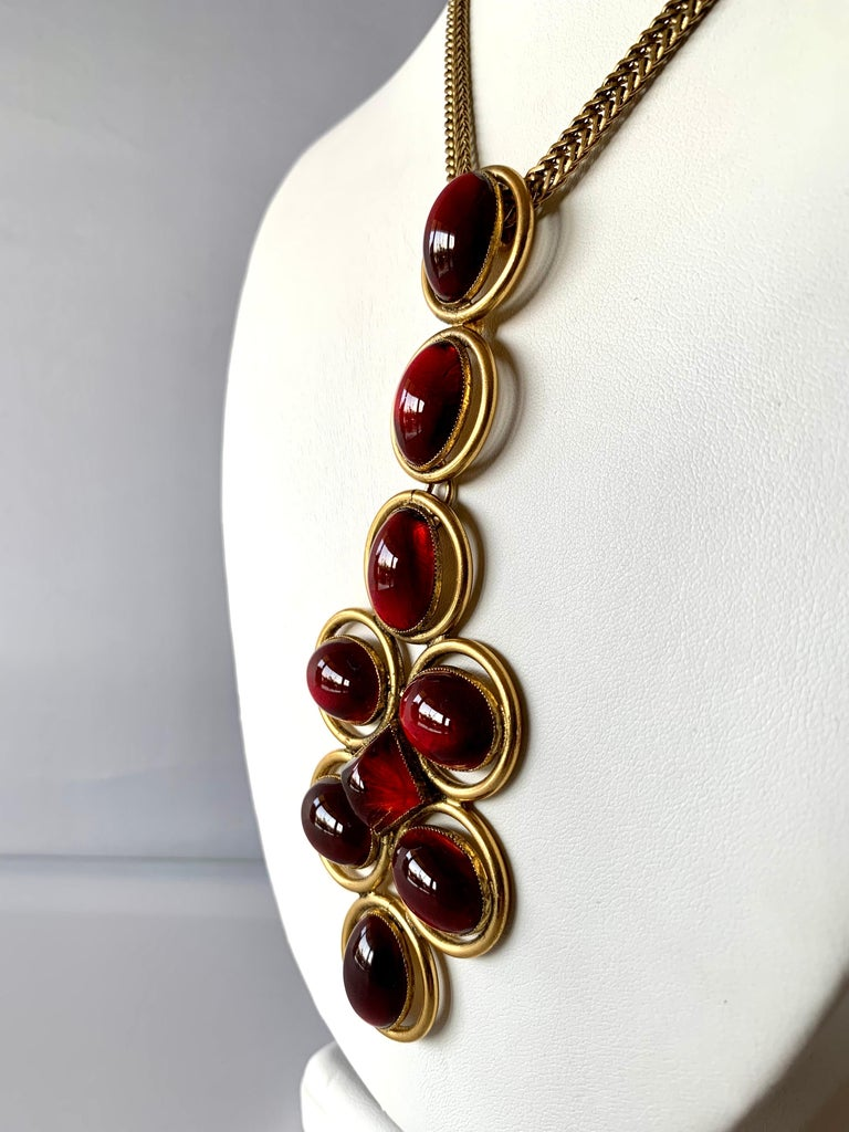 Vintage Roger Scemama 1970s Architectural Red Pendant Necklace  For Sale 1