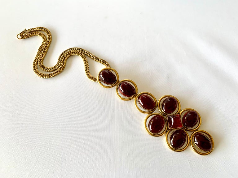 Vintage Roger Scemama 1970s Architectural Red Pendant Necklace  For Sale 2