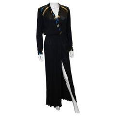 Vintage Roland Klein Black, Blue and Gold Evening Dress