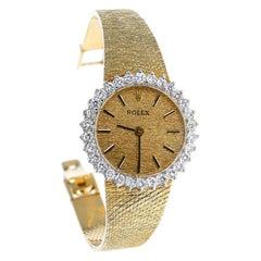 Vintage Rolex 14K Yellow Gold Diamond Bezel Watch