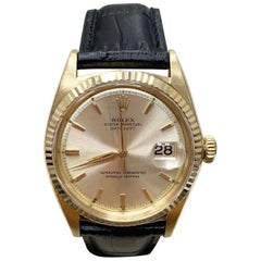 Vintage Rolex 1601 Datejust 18 Karat Yellow Gold with Leather Band, circa 1959