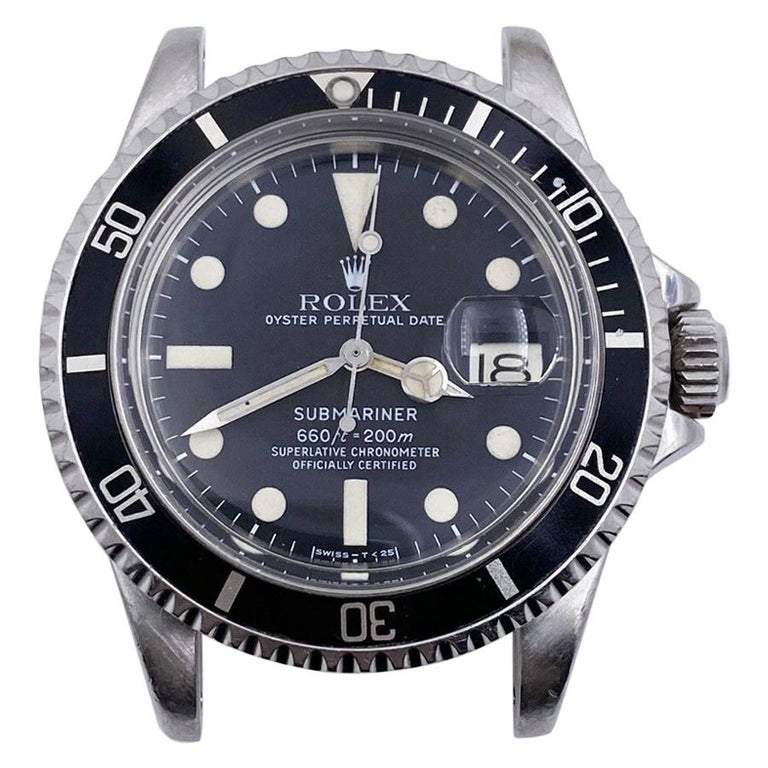Vintage Rolex 1680 Submariner Black Dial Stainless Steel Head Only, 1978 For Sale