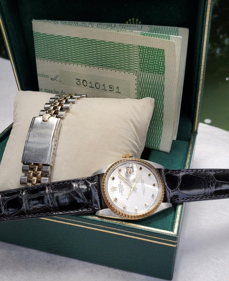 Women's or Men's Vintage Rolex Date with Original Papers, Box and Stainless and 14 Karat Bracelet For Sale