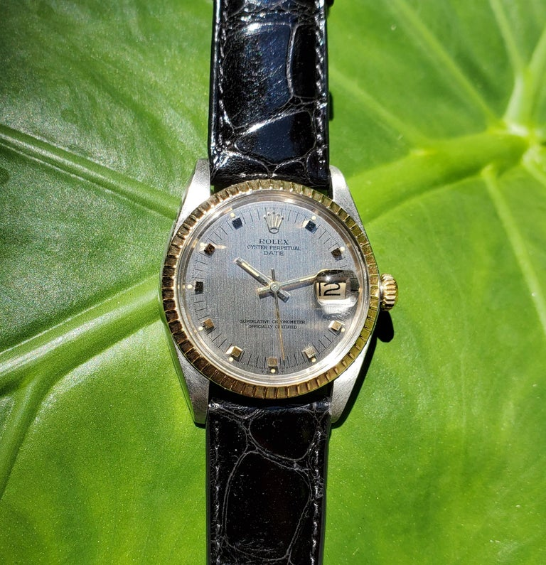Vintage Rolex Date with Original Papers, Box and Stainless and 14 Karat Bracelet For Sale 1