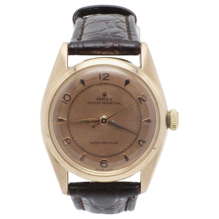 Vintage Rolex 4392 Oyster Perpetual Super Precision 14 Karat Rose Gold For Sale