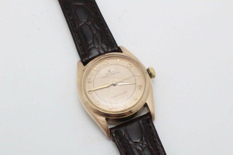 Vintage Rolex 4392 Oyster Perpetual Super Precision 14 Karat Rose Gold For Sale 1