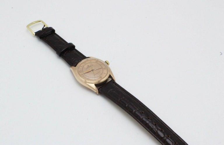 Vintage Rolex 4392 Oyster Perpetual Super Precision 14 Karat Rose Gold For Sale 4
