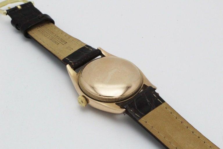 Vintage Rolex 4392 Oyster Perpetual Super Precision 14 Karat Rose Gold For Sale 5