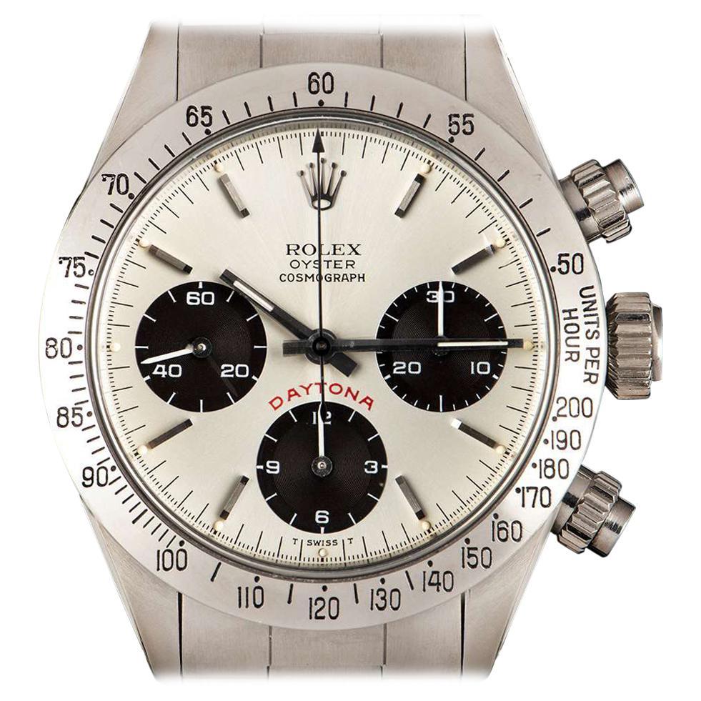 Vintage Rolex Big Red Cosmograph Daytona Steel Silver Dial 6265 Watch