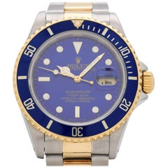Vintage Rolex Blue Submariner Reference 16613 Two-Tone Watch, 1989
