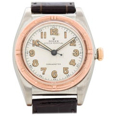 Vintage Rolex Bubbleback Reference 3372 Rose Gold and Stainless Steel Watch 1944