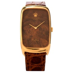 Vintage Rolex Cellini 18 Karat Gold Wood Dial Leather Watch