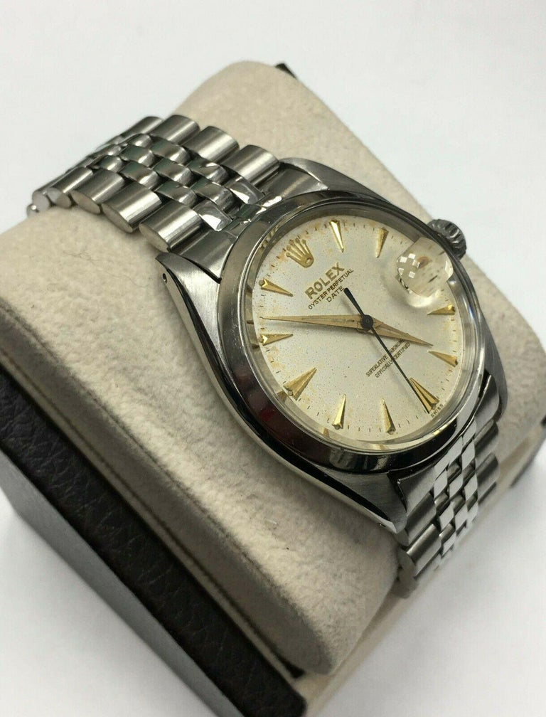 Women's or Men's Vintage Rolex Date 1500 Original Silver Dial Stainless Steel Box Papers For Sale