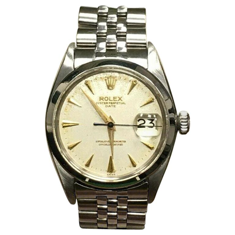 Vintage Rolex Date 1500 Original Silver Dial Stainless Steel Box Papers For Sale