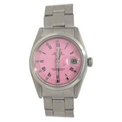 Vintage Rolex Date Automatic Ref. 1500 Pink Dial Roman Numeral Steel Watch