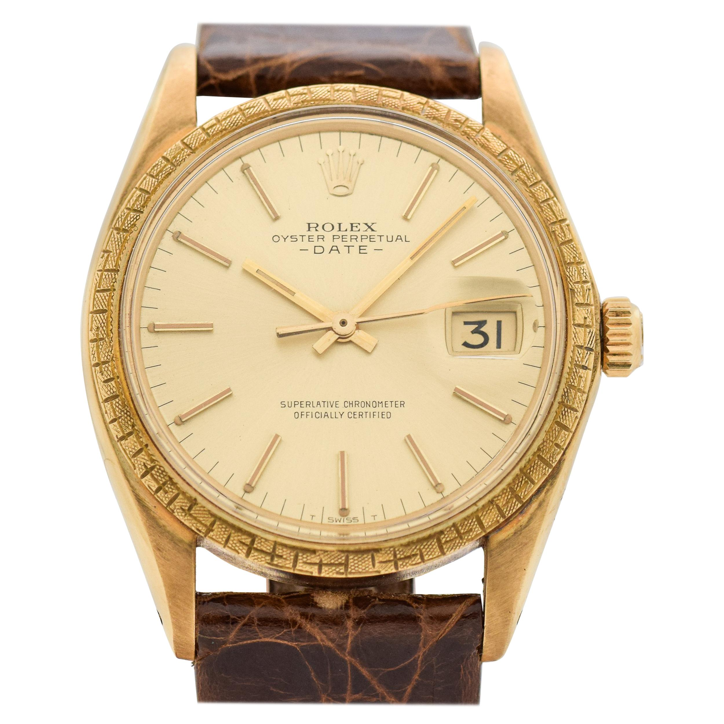 1314117109b Vintage Rolex Date Automatic Reference 1504 18 Karat Yellow Gold Watch,  1969 For Sale at 1stdibs