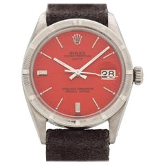 Vintage Rolex Date Automatic Watch with Custom Red Dial, 1964