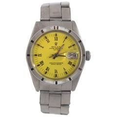 Vintage Rolex Date Ref. 1501 Steel Oyster Perpetual Yellow Dial Watch 'R-30'