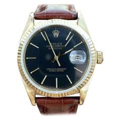 Vintage Rolex Datejust 16018 Black Dial 18k Gold, Circa 1979