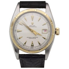 Vintage Rolex Datejust 6105 Bubble Back Ovettone 18 Karat Gold and Stainless