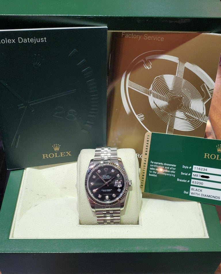 Vintage Rolex Datejust, Black Diamond Dial, 18 Karat Bezel on Jubilee Bracelet For Sale 1