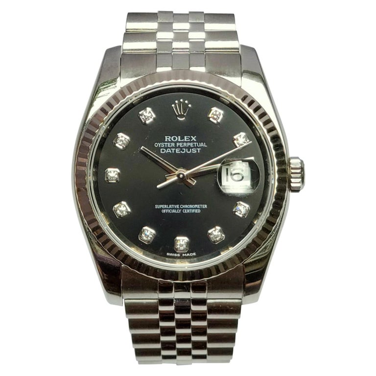 Vintage Rolex Datejust, Black Diamond Dial, 18 Karat Bezel on Jubilee Bracelet For Sale